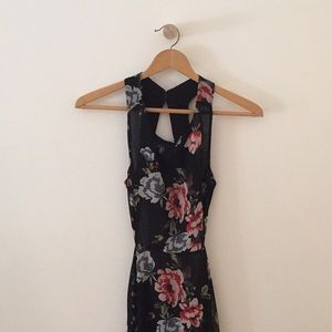 Long floral backless dress with cut out in detail